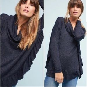 Anthropologie || Postmark Navy Ruffle Sweater
